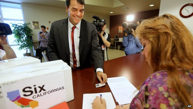 Multi-millionaire Timothy Draper turns in signatures to put his Six California measure on the state ballot.