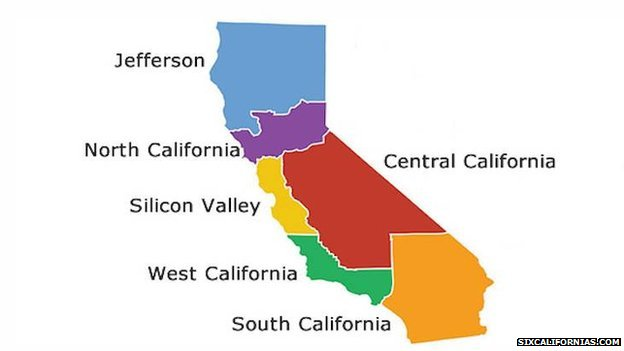 A proposed map of the six new California states