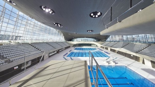 Inside the Aquatics Centre