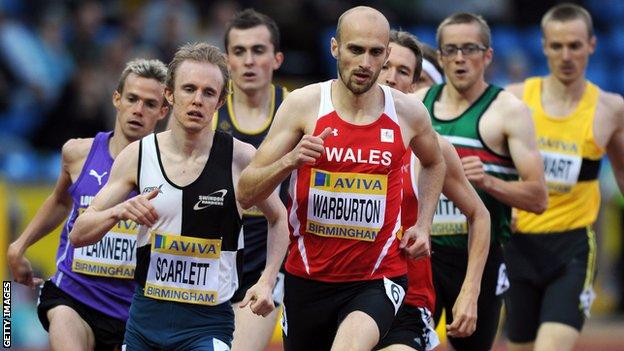 Welsh 800m runner Gareth Warburton in action in Birmingham