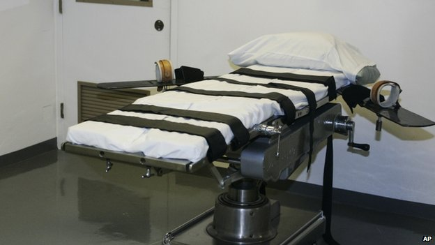 A gurney in an execution chamber is is seen in McAlester, Oklahoma, on 15 April 2008