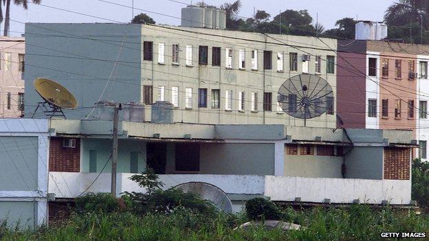 Lourdes base communications dishes - 2001 file pic