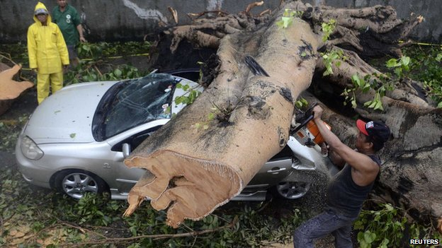A worker uses an electric saw to remove a huge tree that fell on top of a car during the onslaught of Typhoon Rammasun, (locally named Glenda) that hit Makati city in Manila July 16