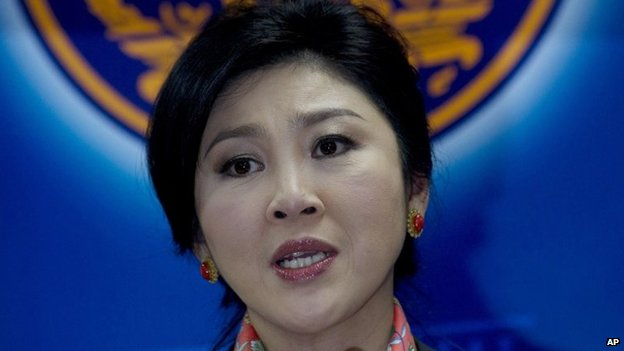 Yingluck Shinawatra talks to media during a press conference in Bangkok, Thailand on 7 May 2014