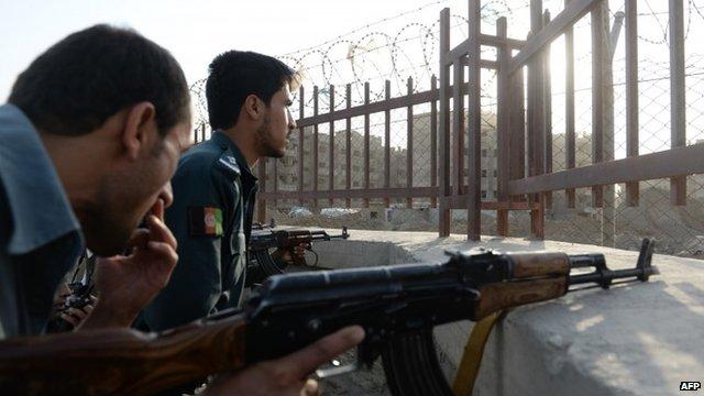 Afghan policemen with guns