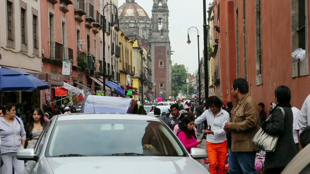 Busy street in Mexico City