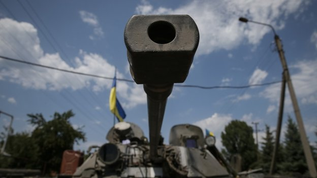 Ukrainian troops in Ukrainian town of Seversk July 2014