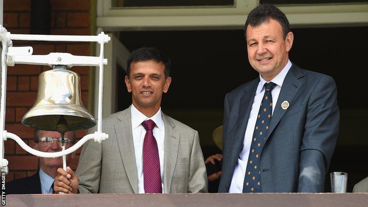 Former India batsman Rahul Dravid and MCC's Derek Brewer