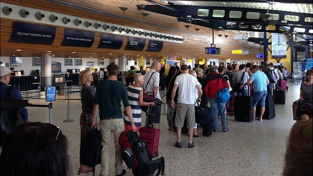 Check in queue at Guernsey Airport