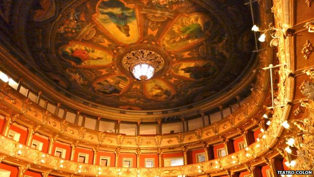 The restored ceiling at Teatro Colon, Bogota
