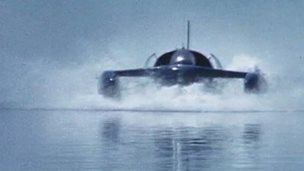 Footage still of Bluebird K7 jet-powered hydroplane