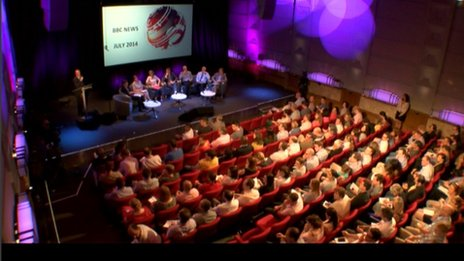 Staff crowd into the Radio Theatre to hear details of the cuts