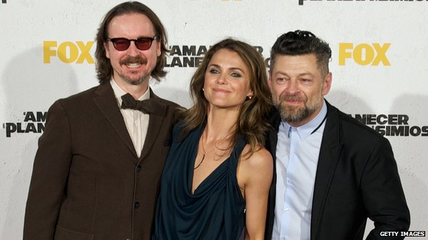 Matt Reeves, Keri Russell and Andy Serkis at the Madrid premiere of Dawn of the Planet of the Apes