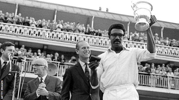 West Indies captain Clive Lloyd lifts the World Cup in 1973