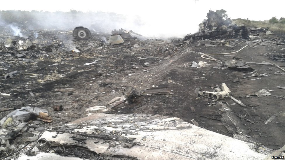 view shows the site of a Malaysia Airlines Boeing 777 plane crash