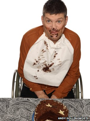 Laurence covered in cake