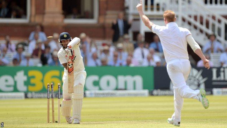 England's Ben Stokes bowls Cheteshwar Pujara