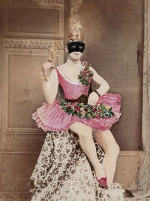 Masked man in pink tutu, from collection of Richard von Krafft-Ebing (1840-1902)