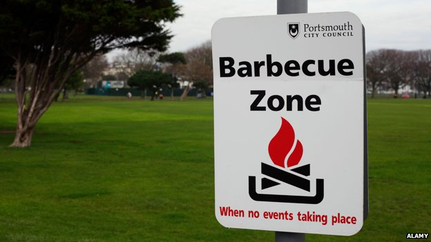 "Sign reads: ""Barbecue zone"""