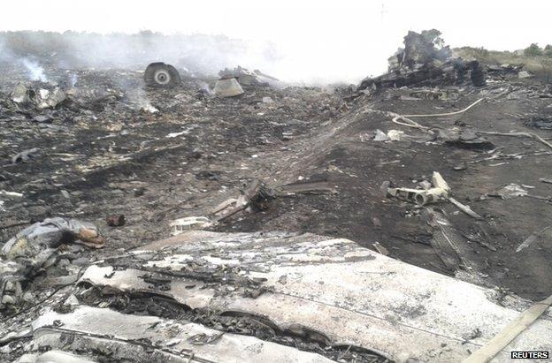 The crash site in Ukraine, 17 July