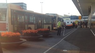 Buses outside Schipol airport