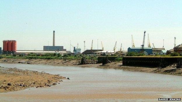 The River Usk side of Newport Docks