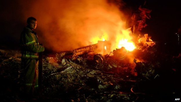 A firefighter stands as flames burst amongst the wreckages of the Malaysian airliner carrying 298 people from Amsterdam to Kuala Lumpur after it crashed, near the town of Shaktarsk, in rebel-held east Ukraine, on 17 July 2014