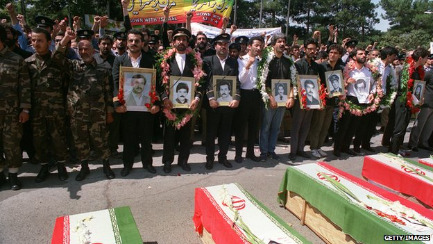 Thousands of people mourn, in Tehran on 7 July, 1988 during the funeral service for those who died when an Iran Air passenger jet was shot down by the US navy