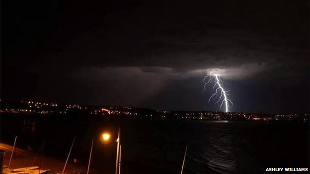 Lightning at Swansea (Pic: Ashley Williams)