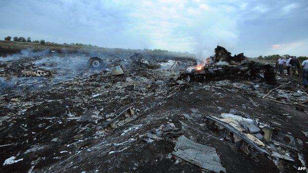 People stand next to the wreckages of the MH17 machine (18 July 2014)