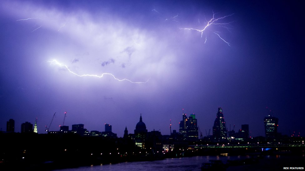 Lightning in the skies over London