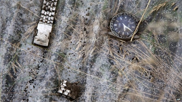 Broken watch at the crash site (18 July 2017)