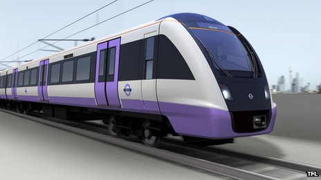 An artists impression of the new Crossrail fleet of trains