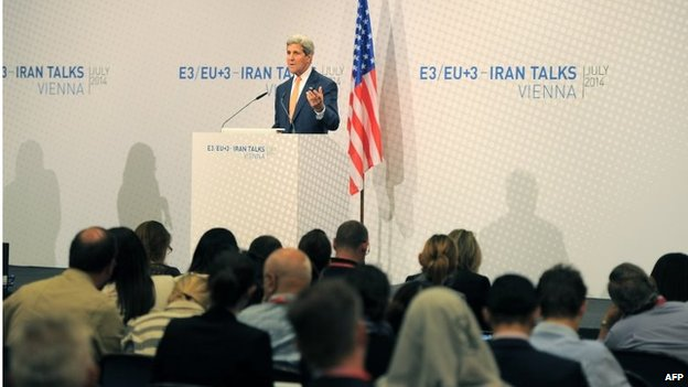 John Kerry at a news conference in Vienna (15/07/14)