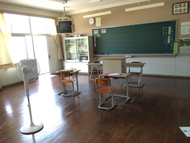 Empty classroom in Shiraishi's secondary school