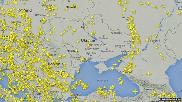 A map of Ukraine and surrounding countries tracking all active planes. Only a few planes cross Ukrainian air space