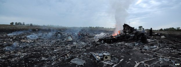 The smouldering crash site