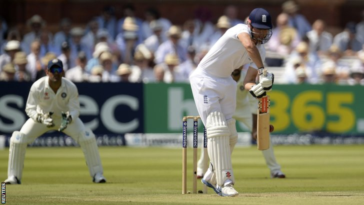 England captain Alastair Cook edges behind