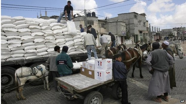 UN aid delivery in Rafah, southern Gaza (file photo)