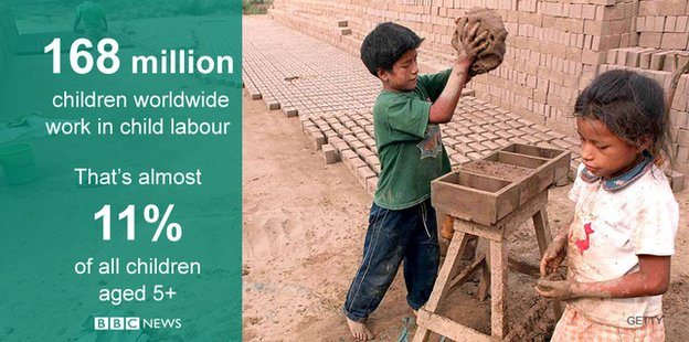 Child labourers making bricks