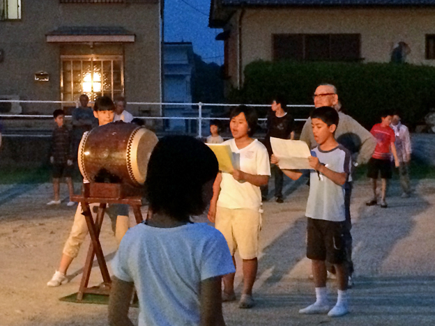 Villagers practising the Shiraishi Odori