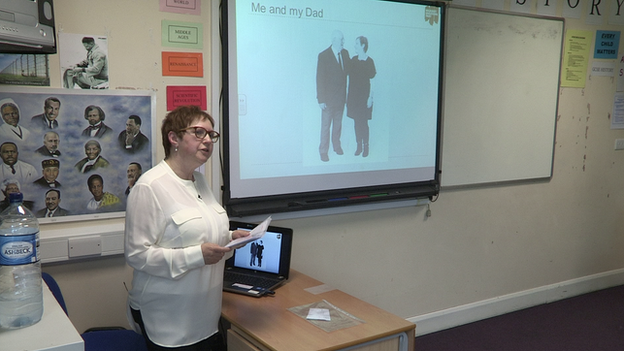 Sue Bermange telling her father's story to secondary school students