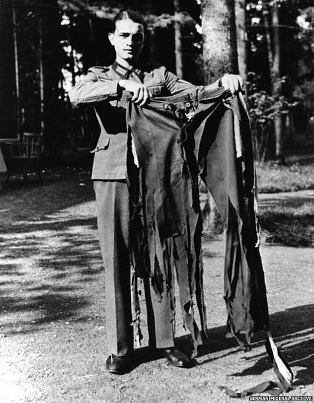 The trousers Hitler was wearing when the bomb exploded