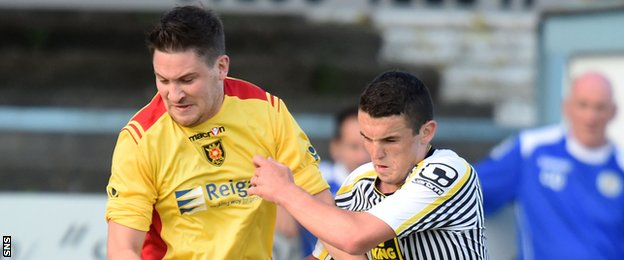 Albion Rovers' John Gemmell and St Mirren's John McGinn