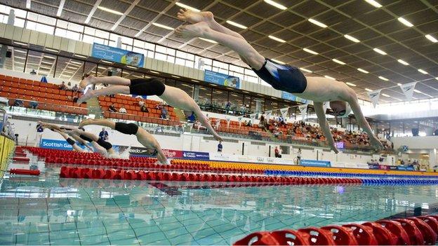 swimmers at Royal Commonwealth Pool in Edinburgh