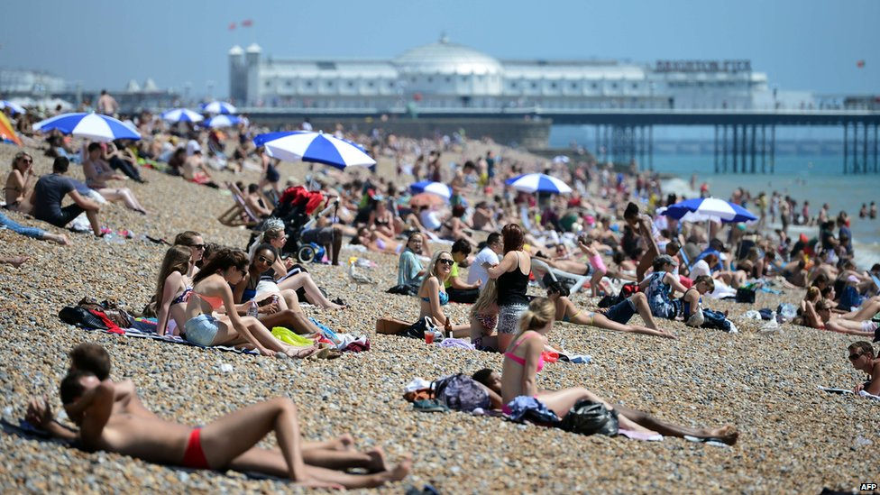 Sunbathers on Brighton beach