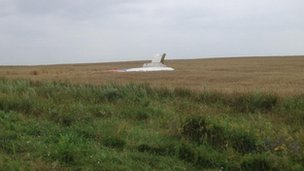 The tail of MH17 in a wheat field