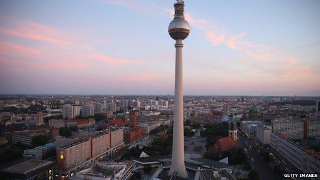 broadcast tower at Alexanderplatz looms