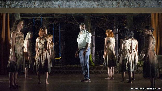 A scene from Medea, Danny Sapani (centre) as Jason