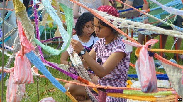 Knitting at Latitude Festival